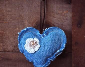 Shabby Chic Denim Heart Ornament with Crochet Flowers