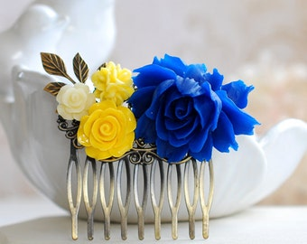 Bridal Hair Comb Cobalt Blue and Yellow Wedding Hairpiece Leaf Floral Collage Hair Accessory Bridesmaids Gift Something Blue Garden Wedding