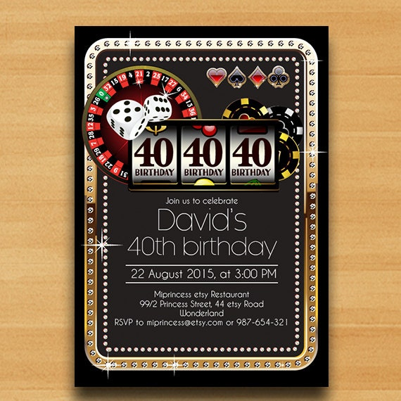Poker Playing Card Gold Birthday Invitation, Casino Theme