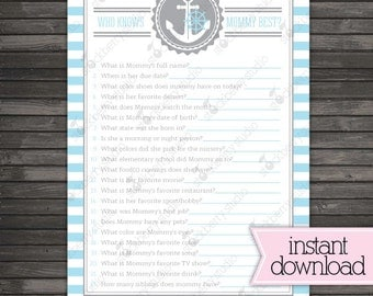 Nautical Baby Shower Who Knows Mommy Best Game - Instant Download - Blue Baby Shower Activities - Boy Baby Shower Games Printable