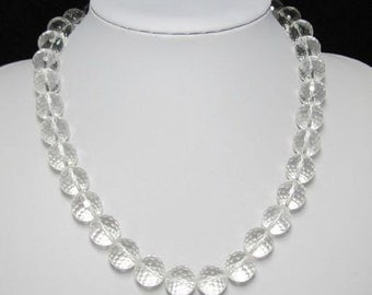 Necklace 49cm IN White rock crystal Quartz 14mm faceted  and 925 Silver