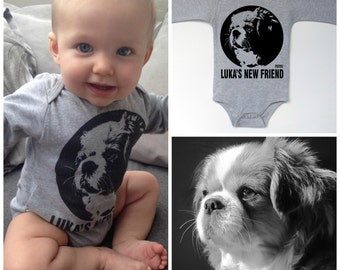 Dog Baby Announcement, Personalized Baby Bodysuit, Dog Baby One Piece, Baby Clothes With Dog Print, Dog Baby Clothes, Custom Baby Onepiece