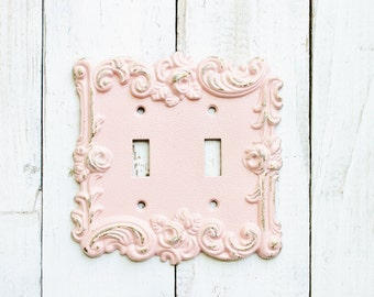 shabby cottage chic metal double switch plate coverin blushing pink rose style