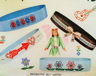 Vintage Simplicity 7391 Pattern, Belt Embroidery Motifs, Embroidery Pattern, Transfer Pattern, 1940s Sewing Pattern, Applique Transfers