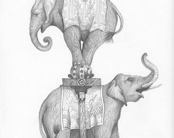 Original Drawing of Three Elephants