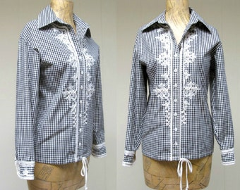 Vintage 1960s Blouse / 60s Anne Klein Black and White Cotton Gingham Ribbon Work Top / Medium