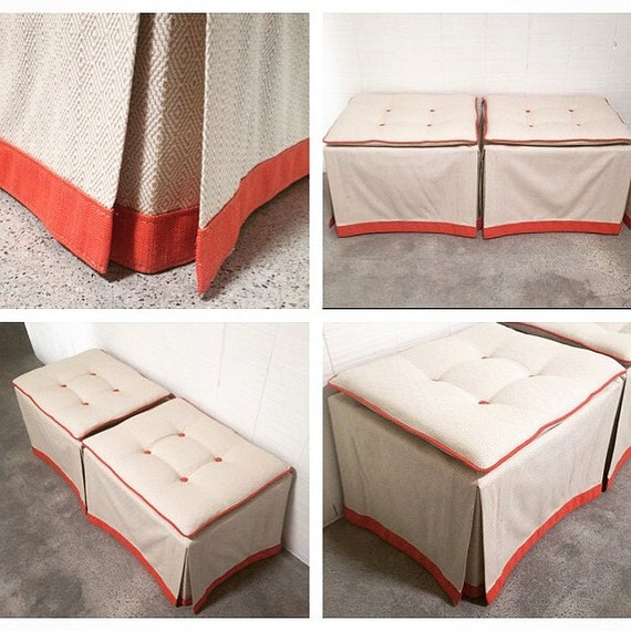 Custom Skirted Ottomans - Create Your Own Pair in ANY Fabric