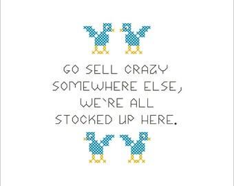 PDF PATTERN: Sell Crazy funny cross stitch pattern digital download