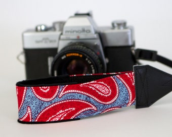 Camera Wrist Strap - dslr Camera Strap - Padded Camera Strap - Nikon - Canon - Red Camera Accessories - American Paisley - READY TO SHIP