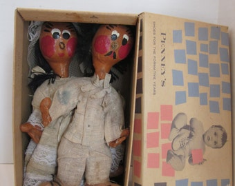 Vintage Mexican Doll Couple in Old Penney's Baby Shoe Box - Handmade and Handpainted Paper Mache Folk Art
