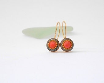 Red Coral earrings Gold hook earrings Grey red gold filled earrings Coral earrings with short hooks Red earrings tiny earrings coral jewelry