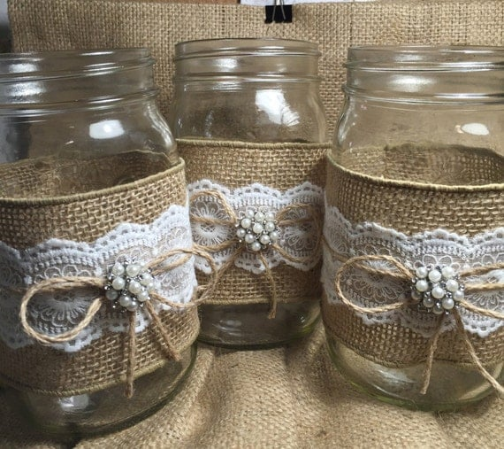 Rustic Jars For Wedding: Set Of 10 Burlap Quart Mason Jar Wraps Rustic By