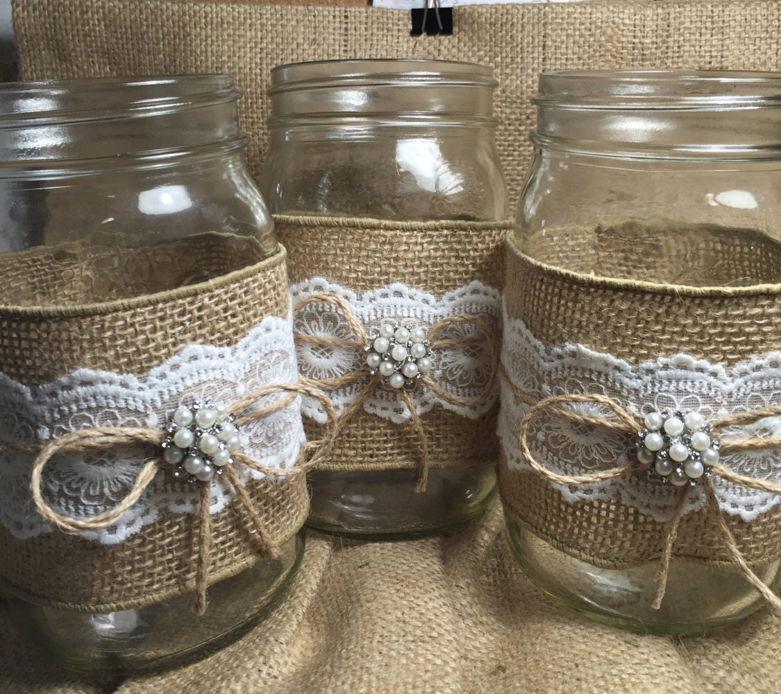Mason Jar Ideas For Weddings: Set Of 10 Burlap Quart Mason Jar Wraps Rustic By