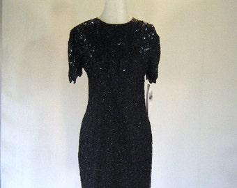 Silky Nites Black Beaded Art Deco Dress