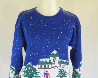 Skiing Winter Wonderland Novelty Sweater Top