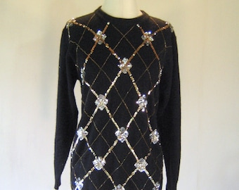 Gold & Silver Diamond Sequin Sweater Top