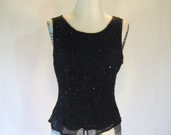 Patra Black Beaded Elegant Tank Top