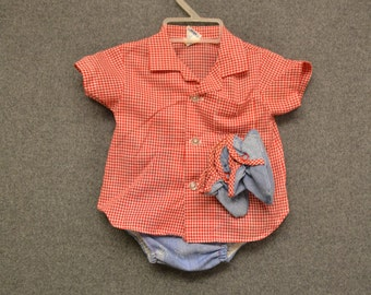 1970s Denim and Gingham Baby Shirt, Diaper Cover, and Booties