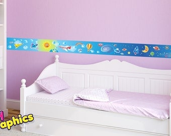 airplanes planets rocket wall border stickers  - 6.5 feet long & 5.5 inches wide (2 m x 14 cm) - removable (babygraphics)