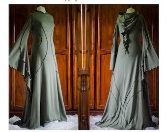 Savannah Desert Dress ~ Long Olive Green Dress ~ Medieval Dress ~ Renfest ~ Prom Dress ~ Handfasting ~ Wedding ~ Bridal Wear ~ technodolly