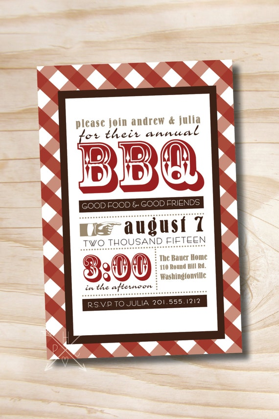 VINTAGE POSTER BBQ Barbeque Party Invitation - Printable digital file or printed invitations