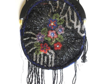 Antique 1920s beaded purse Glass Beaded Purse Seed Beads Black Colorful Flowers Celluloid Silk Lining Repurpose Restore Jackpot Jen Vintage