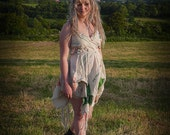 Glastonbury Festival dress, upcycled eco friendly festival fashion. Clothing using cotton & hemp recycled bags