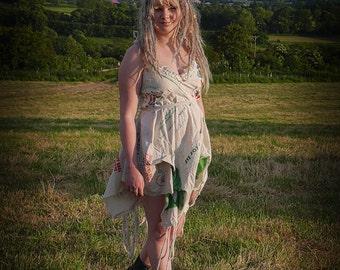 Glastonbury Festival dress, upcycled eco friendly festival fashion. Clothing using cotton & hemp recycled bags