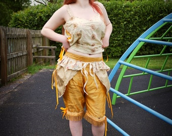 Cream & dusky gold silk bustle. Tie-on skirt. Circus, carnival or tribal fusion costume. Festival clothing, Glastonbury, Burning Man