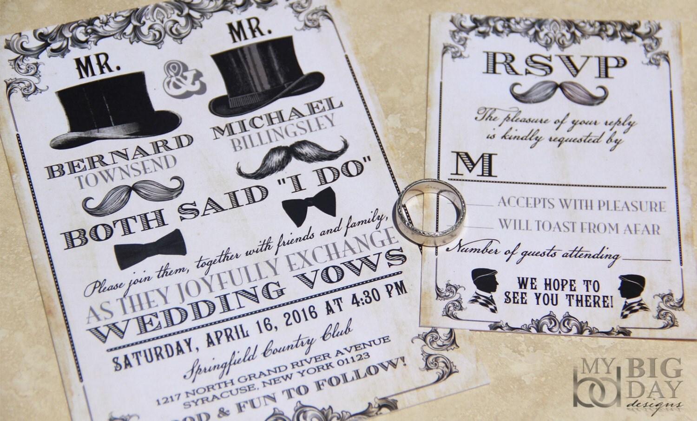 Gay Wedding Invite: NEW Mr & Mr Same Sex Themed Wedding Invitation Set Mens Gay