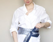 Women's obi belt made from blue silk ties