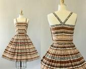 Vintage 50s Dress/ 1950s Cotton Dress/ Brown, Black, White Geometric Print Cotton Dress w/ Criss-Cross Back S