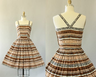 Vintage 50s Dress/ 1950s Cotton Dress/ Brown, Black, White Geometric Print Cotton Dress w/ Criss-Cross Back S