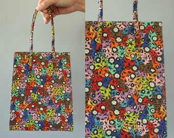 Vintage 50s Purse/ 1950s Purse/ Lennox Bags Colorful Floral Fabric Purse