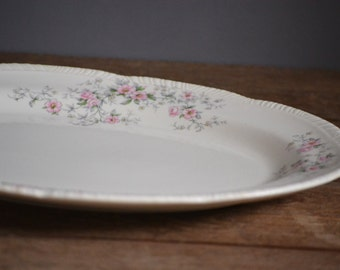 1940s Homer Laughlin Serving Tray Platter, HLC W442 Pink and White Floral, Bridal Fine China Rare