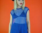 vintage  top, 1980's 80s vintage sheer sporty oversized blue net mesh JERSEY oversize top, womens xl