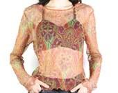 90's top, sheer top, 1990's Indian hindu henna flower vector print sheer mesh top, women's large L