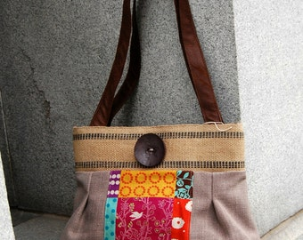 Burlap Purse.  Handmade.  Patchwork and Neutral taupy-gray
