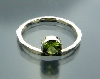 Peridot Solitaire Ring - August Birthstone Ring - Sterling Silver Solitaire Ring - Handmade in USA by Me - FREE Shipping