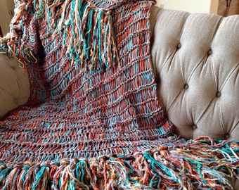 Turquoise Home Decor Turquoise Throw Turquoise Decor Turquoise Blanket Turquoise Afghan with Grey, Orange, Brown