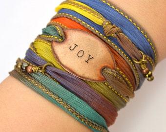 Silk Wrap Bracelet- JOY- ribbon wrap bracelet- joy bracelet - yoga bracelet- wrap bracelet- boho jewelry