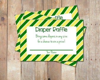 Green and Yellow Diaper Raffle Ticket Baby Shower Game