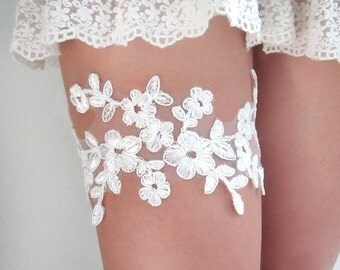 Ivory Alencon Lace Garter Set - Wedding Bridal Garter , Garter Belt, Bridal Garters, Ivory Garter : ELFIE Lace Garter