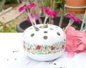 Lovely Porcelain Vase Flower Frog - Field of Flowers Pattern - Frog Vase Flower Holder - Home Decor - Summer Finds - Cottage Chic