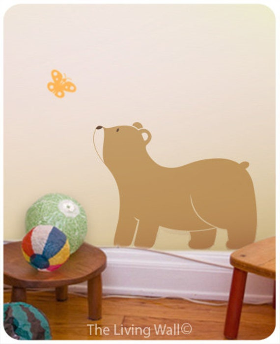 Bear Cub with Butterfly Wall Stickers Nursery Decor, Woodland Decals Childrens Room, Australian made