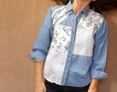 OXFORD light floral color block 90s denim TWIN PEAKS leo shirt