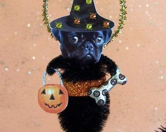 Pug Halloween Feather Tree Chenille Ornament