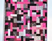 Ooh La La Pink and Black Queen size Quilt