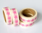 50% OFF SALE - 1 Roll of Bubblegum Pink Stars Masking Tape / Japanese Washi Tape (.60 inches x 33 feet)