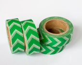 50% OFF SALE - 1 Roll of Kelly Green and White Chevron Arrows Washi Tape / Decorative Masking Tape (.60 inches wide x 33 feet long)